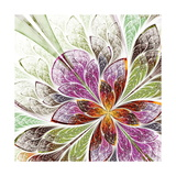 Beautiful Fractal Flower in Beige  Green and Violet