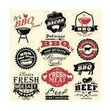 Vintage Retro BBQ Badges and Labels