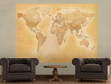 Vintage Style World Map Deco Wallpaper Mural