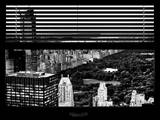 Window View with Venetian Blinds: Central Park and upper West Side Buildings - Manhattan