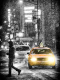 Yellow Taxis at Times Square during a Snowstorm by Night