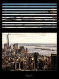 Window View with Venetian Blinds: Cityscape Manhattan Center (1 WTC) and Statue of Liberty View
