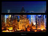 Window View with Venetian Blinds: Cityscape at Times Square Buildings by Night - Manhattan