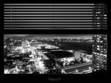 Window View with Venetian Blinds: Hudson River by Night - Manhattan