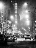 Street Scenes and Urban Night Landscape in Winter under the Snow