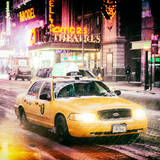 Instants of NY Series - Snowstorm on 42nd Street in Times Square with Yellow Cab by Night