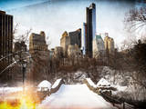 Instants of NY Series - Snowy Gapstow Bridge of Central Park  Manhattan in New York City