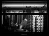 Window View with Venetian Blinds: Skyline of Times Square