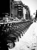 Urban Scene with NYC Citibike in the Snow in Winter
