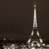 Cityscape Paris with Eiffel Tower at Night - Sepia - Tone Photography - Square Format Photography