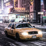 Snowstorm on 42nd Street in Times Square with Yellow Cab by Night