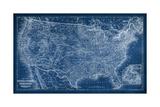 US Map Blueprint Reproduction d'art par Vision Studio