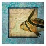 Rooster Fish Map Reproduction d'art par Tina Carlson