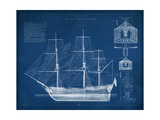 Antique Ship Blueprint IV Reproduction d'art par Vision Studio