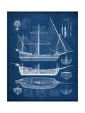 Antique Ship Blueprint I Reproduction d'art par Vision Studio