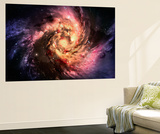 Spiral Galaxy In A Dark Space  Abstract Background