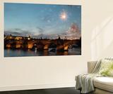 Fireworks over the Charles Bridge  a Historic Bridge over the Vltava River