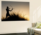 Silhouette of Bushman Male with Bow and Arrow  Namibia