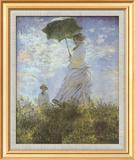Woman with Parasol and Child Art texturé encadré par Claude Monet