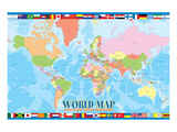 World Map for Kids Reproduction d'art