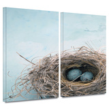 Blue Nest 2 piece gallery-wrapped canvas