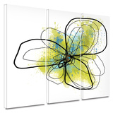 Citron Petals II 3 piece gallery-wrapped canvas