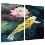 Koi and Lotus Flower 2 piece gallery-wrapped canvas