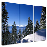 Lake Tahoe in Winter 3 piece gallery-wrapped canvas