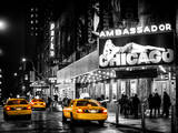 Chicago the Musical - Yellow Cabs in front of the Ambassador Theatre in Times Square by Night