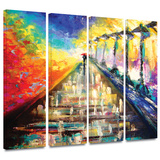 Rainy Paris Evening 4 piece gallery-wrapped canvas