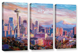 Seattle Skyline with Space Needle 3 piece gallery-wrapped canvas