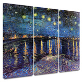Starry Night over the Rhone 3 piece gallery-wrapped canvas