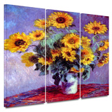 Sunflowers 3 piece gallery-wrapped canvas