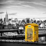 Police Emergency Call Box on the Walkway of the Brooklyn Bridge with Skyline of Manhattan