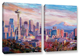 Seattle Skyline with Space Needle 2 piece gallery-wrapped canvas