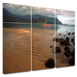 Hanalei Bay at Dawn 3 piece gallery-wrapped canvas