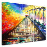 Rainy Paris Evening 3 piece gallery-wrapped canvas
