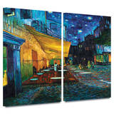 Café Terrace at Night 2 piece gallery-wrapped canvas