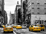 Urban Scene with Yellow Cab in Broadway