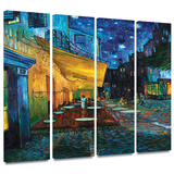 Café Terrace at Night 4 piece gallery-wrapped canvas