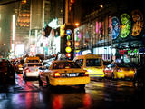 Yellow Cab on 7th Avenue at Times Square by Night