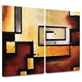 Abstract Modern 2 piece gallery-wrapped canvas