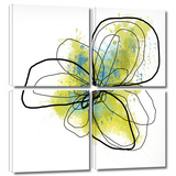 Citron Petals II 4 piece gallery-wrapped canvas