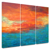 Lake Reflections II 3 piece gallery-wrapped canvas