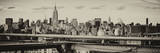 Panoramic Cityscape - View of Brooklyn Bridge with the Empire State Buildings