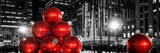 Panoramic View - Giant Christmas Ornaments on Sixth Avenue across from Radio City Music Hall