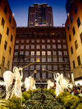 Rockefeller Center and 5th Ave Views with Christmas Decoration at Nightfall