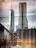 Instants of NY Series - View of Brooklyn Bridge with the One World Trade Center