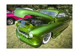 Vintage Green Car with Open Hood