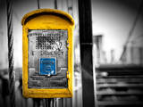 Police Emergency Call Box on the Walkway of the Brooklyn Bridge in New York City